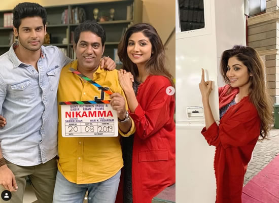 Shilpa Shetty shares photos from the sets of her next movie Nikamma!