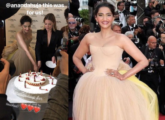 Sonam celebrates her wedding to Anand Ahuja with a cake at Cannes 2018!