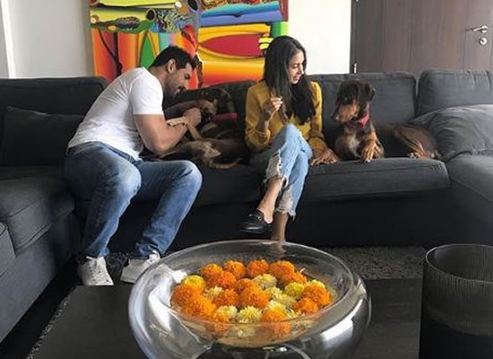 John Abraham and wife Priya Runchal celebrate Diwali with their pooches!