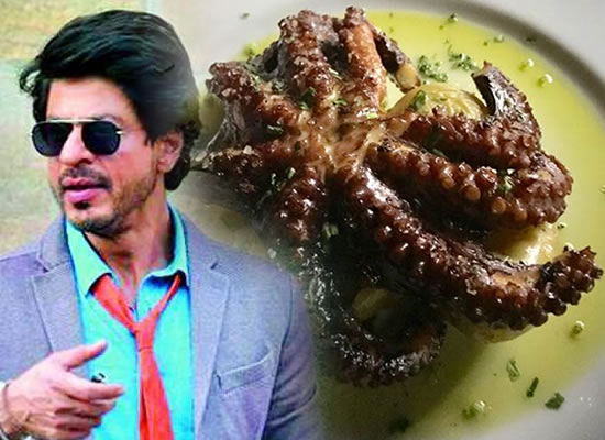 SRK finds it scary as he tries his hand at eating an octopus!