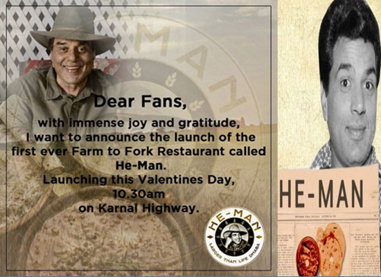 Dharmendra to launch a new restaurant 'He-Man' on Valentine's Day!