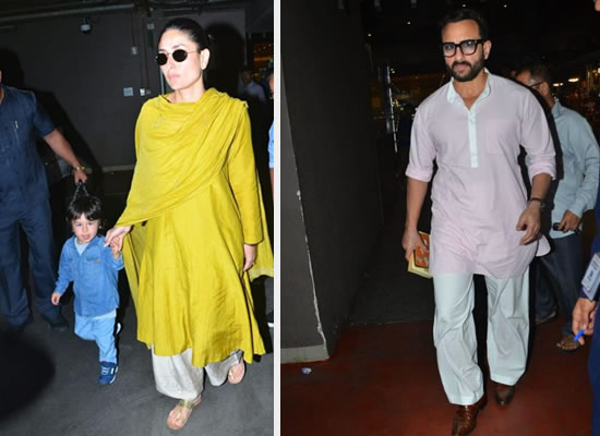 Kareena Kapoor Khan's traditional avatar with hubby Saif at the airport!