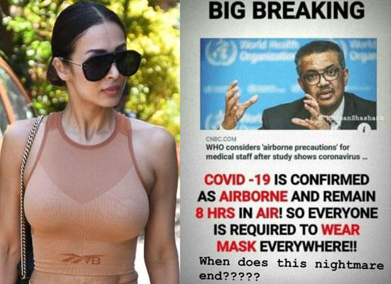 Malaika Arora to react strongly to reports of COVID 19 being airborne!