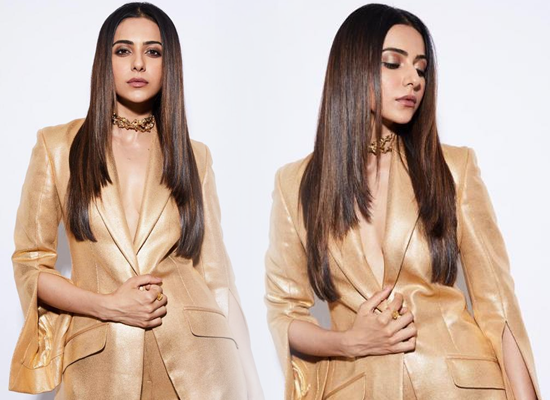 Rakul Preet Singh's stylish avatar in a gold pantsuit!