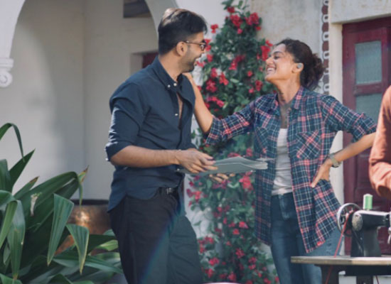 Taapsee Pannu's fun moments with her co-star from Rashmi Rocket's sets!