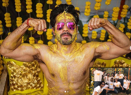 Varun Dhawan's lovely shirtless pic from his Haldi ceremony!