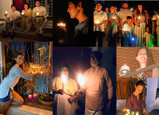 South celebs light diyas for #9baje9minute!