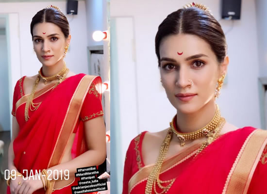 Kriti Sanon to share a BTS photo of her as the beautiful Parvati Bai from Panipat!