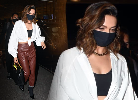 Deepika Padukone's chic avatar at airport in leather pants!