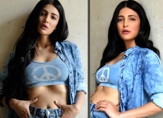 Shruti Haasan's stylish look in a blue crop top and denim skirt!