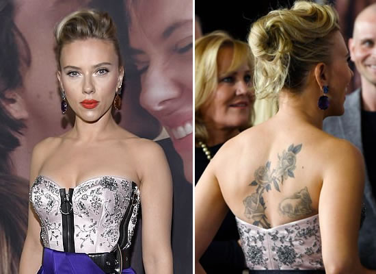 Scarlett Johansson dazzles in purple with huge back tattoo at her film's premiere!