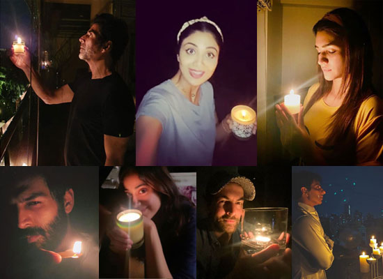 Bollywood celebs light diyas during the #9baje9minute call!